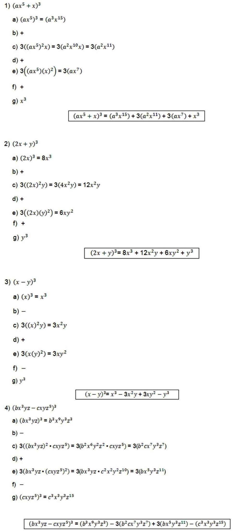Binomios al cubo ejemplos