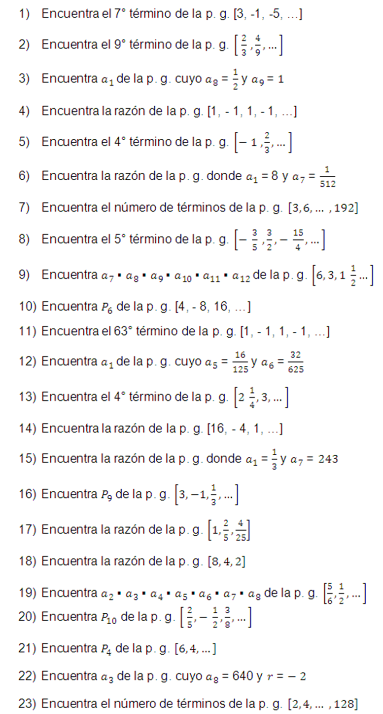 Ejercicios de progresiones geométricas